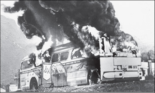 Bus Carrying Freedom Riders Burns