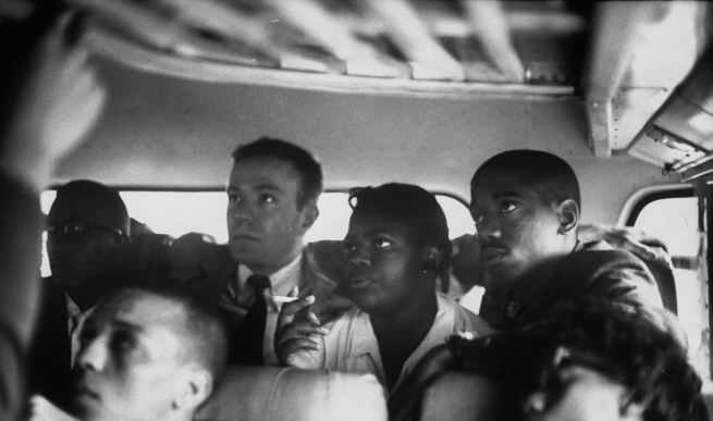 Freedom Riders on a bus making a test trip into Mississippi, May 1961