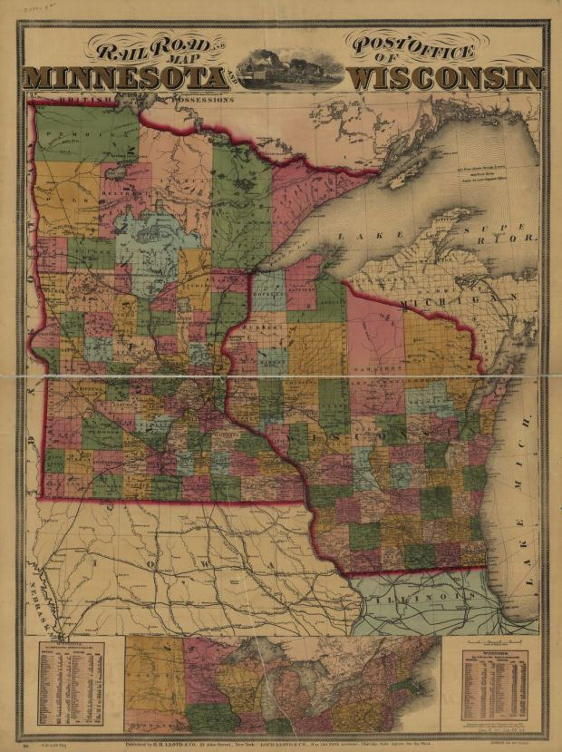 Railroad and post office map of Minnesota and Wisconsin