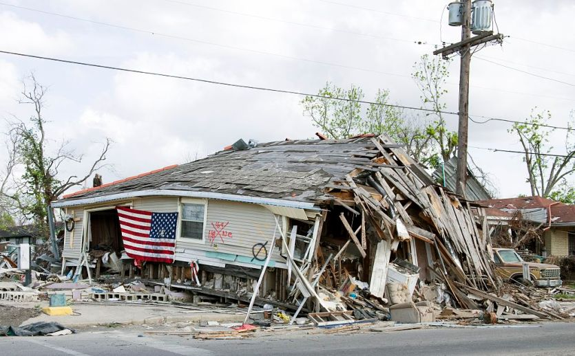 Barber Shop located in Ninth Ward, New Orleans, Louisiana, damaged by Hurricane Katrina in 2005
