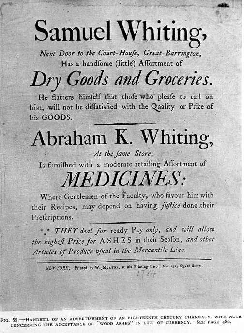 L0005197 Handbill of 18th c. pharmacy Credit: Wellcome Library, London. Wellcome Images images@wellcome.ac.uk http://wellcomeimages.org Handbill of an 18th century pharmacy. Four thousand years of pharmacy Charles H. La Wall Published: 1927 Copyrighted work available under Creative Commons Attribution only licence CC BY 4.0 http://creativecommons.org/licenses/by/4.0/