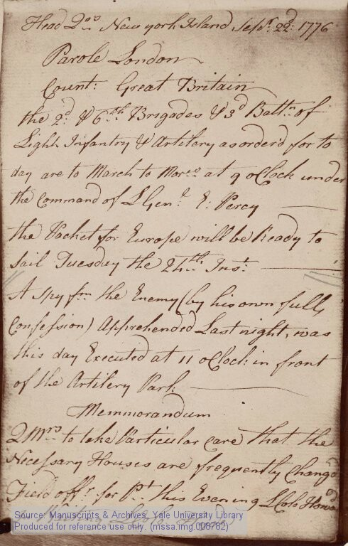Nathan_Hale_executed_British_orderly_book_1776